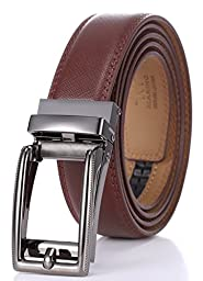 Marino Men\'s Genuine Leather Ratchet Dress Belt with Open Linxx Buckle, Enclosed in an Elegant Gift Box - Gunblack Silver Square Open Buckle W/Brown Leather - Custom: Up to 44\