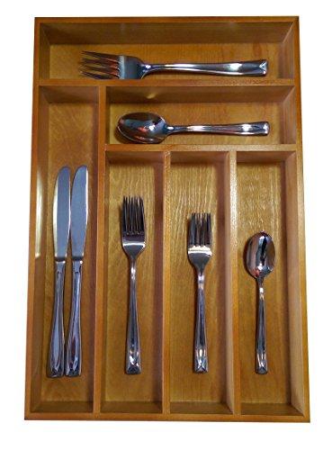 Drawer cutlery tray organizer durable wood silverware for Vertical silverware organizer
