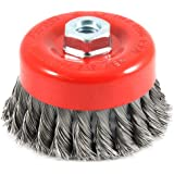 Forney 72753 Wire Cup Brush, Knotted with 5/8-Inch-11 Threaded Arbor, 4-Inch-by-.012-Inch