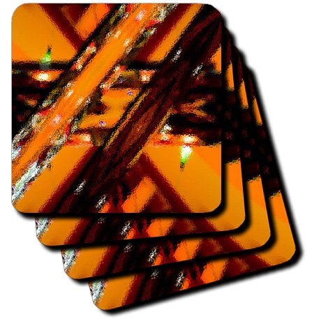 3dRose cst_54842_2 Light Fixtures at Red Robin Made Into a Glass Tile of Orange, Rust and Yellow Soft Coasters, Set of 8