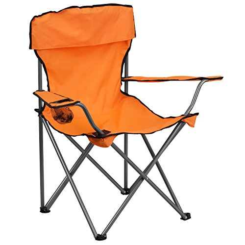 Folding Camping Chair with Drink Holder in Orange
