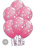 Age 1 / 1st Birthday Circle Hearts Girl Balloons x 6