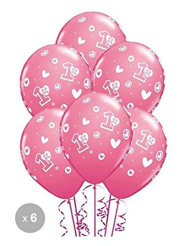 Ballon 1er anniversaire fille qualatex Ballon Taille 11'' (28 cm) par 6