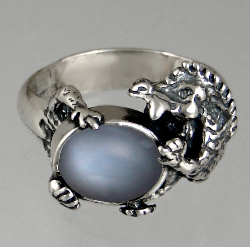 Sterling Silver Dragon Ring Featuring a Genuine Grey Moonstone Made in America