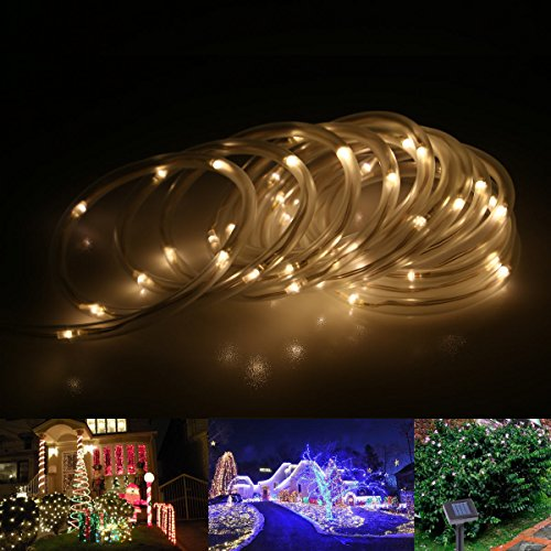 Le Solar Rope Lights, 23Ft, Waterproof, 50 Leds, 1.2 V, Warm White, Portable, With Light Sensor, Outdoor Rope Lights, Ideal For Christmas, Wedding, Party