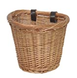 Child`s / Small, Traditional Wicker Bicycle Front Basket with Leather Straps. Children`s / Kids / Girl`s Bike