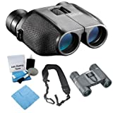 Bushnell 139755C PowerView 7-15x 25mm Porro Prism Zoom Binocular + Roof Prism Binoculars + Cleaning Cloth +Lens Cleaning Kit + Wide Strap