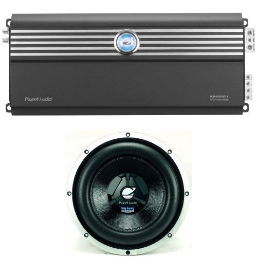 Planet Audio Bb4000.1 Big Bang 3 4000-Watts Monoblock Class D 1 Channel 1 Ohm Stable Amplifier And Planet Audio Bb12D 12-Inch 1200 Watts 4-Ohm Dual Voice Coils Max Power Handling Dvc Subwoofer