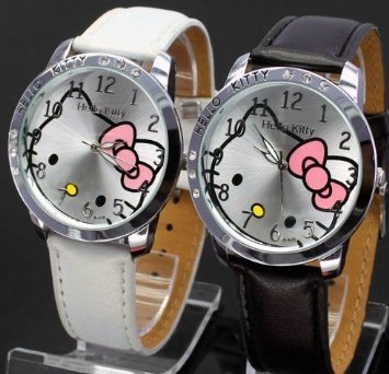 Amazon.com: Hello Kitty Black & White Classic Watch with Free Pair of Red Heart Love Necklace.: Everything Else