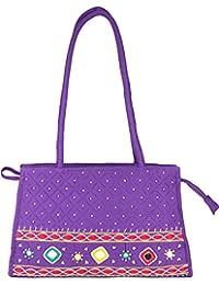 Women Cottage Purple Cotton Patch Work Square Bag