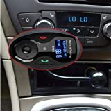 VersionTech Univeral LCD Display Bluetooth Wireless Car MP3 FM Transmitter Modulator Radio Adapter Handsfree Car Kit with Hands-Free Calling, Music Control, Mic, and Charging Port for iPhone 5S 5 5C 4S 4 iPod, Android Smart Cell phone, MP3 Players and Other Devices