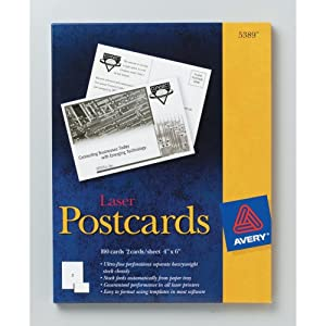 Avery Postcards for Laser Printers, Uncoated, 4 x 6 Inches, White, Box of 100 (05389)