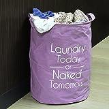 HOKIPO Folding Round Laundry Bag Hamper. (Purple)