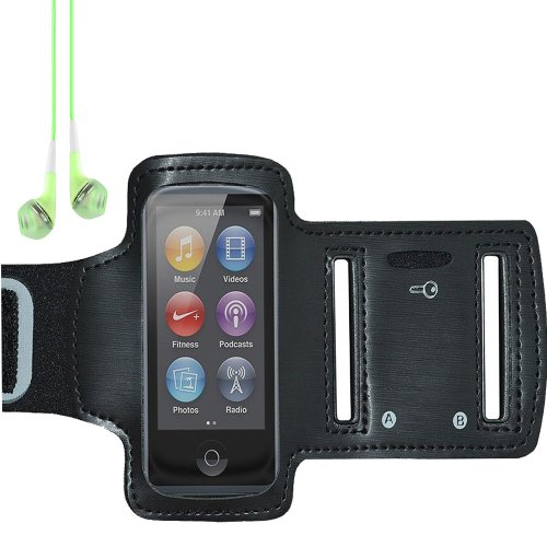 Workout Running Gym Armband Case For Apple Ipod Nano 7 (Black) + Green Vangoddy Headset With Mic