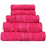 Catherine Lansfield Home 100% Cotton 450gsm 4 Piece Guest Towel Set, Hot Pink
