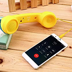 KARP Anti-radiation Retro Style 3.5mm Jack Wired Handset For Apple iPhone 6s Plus/6s/6 Plus/6/5/5c/5s/4/4s/HTC/Samsung Nokia/Blackberry/Sony/LG with Speaker and Microphone (Yellow)