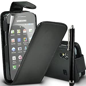 SUPERGETS® Samsung Galaxy Ace S5830 Premium Black Top Flip Leather Case with Touch Screen Stylus And Includes Screen Protector And Polishing Cloth