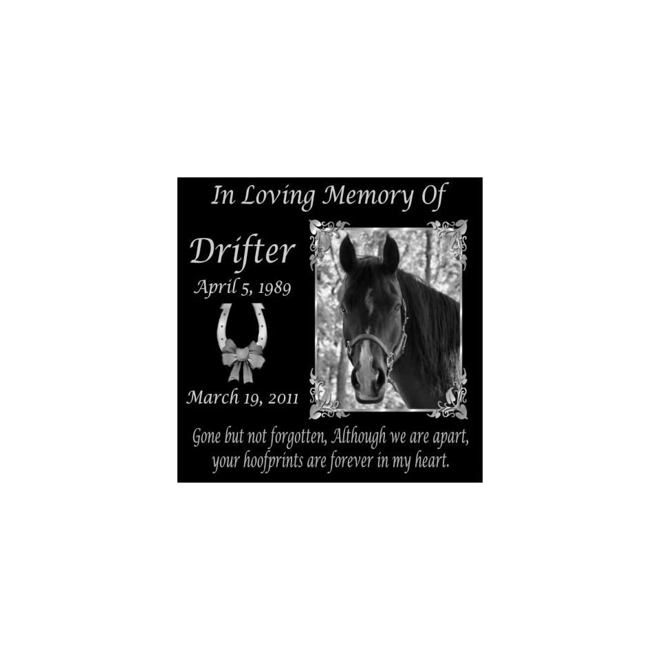 12 x 12 Lazer Gifts Personalized Gone But Not Forgotten Black Granite Pet Memorial Marker Style Drifter