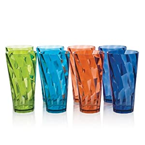 8pc Break-resistant Restaurant-quality SAN Plastic 28-ounce Iced Tea Cup Tumblers in 4... by US Acrylic, LLC