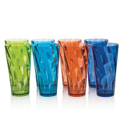 Optix Break-resistant Plastic 20oz Water Cup Tumbler - Set of 8 in 4 Assorted Colors