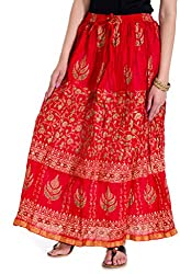 Rangsthali Cotton Gold Printed Womens long Straight Skirt with Elastic