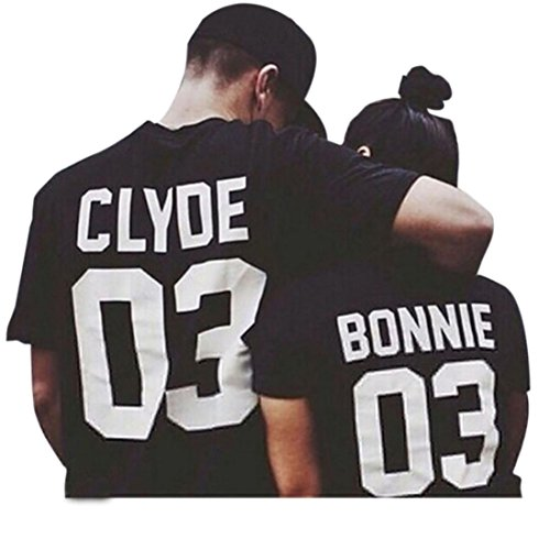 [Anboo Lover Sweetheart Partner CLYDE 03 BONNIE 03 Letter Print T-Shirt Couple Shirt (Men XXL)] (Matching His And Her Costumes)