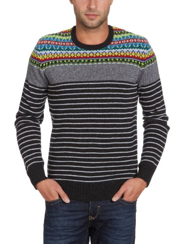 energie George R Neck Pullover Men's Jumper Charcoal Grey Small