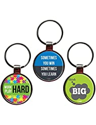 Combo For Success Set Of 3 Quote Metal Key Chains By QuoteSutra