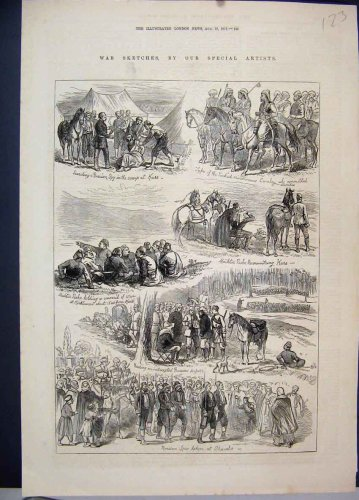 1877 War Sketches Russian Spy Horses Antique Print