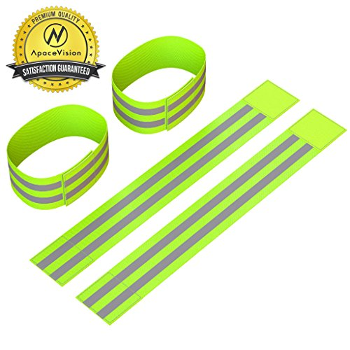 Reflective Ankle Bands (4 Bands/2 Pairs) | High Visibility and Safety for Jogging/Cycling/Walking etc | Work as Wristbands, Armband, Leg Straps | Accessories for Sports/Running Gear, Outdoor Clothing