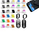 BiG DIGITAL Complete 24 piece Square Color Filter Set, Compatible with Cokin P Series - Includes: Graduated Yellow, Graduated Green, Graduated Purple, Graduated Blue, Graduated Brown, Graduated Red, Graduated Pink, Graduated Orange, Full Yellow, Full Purp