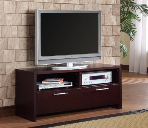 Black friday cherry finish wood double drawer tv stand for Where to buy tv console