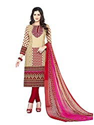 PShopee Red Synthetic Printed Unstitched Salwar Suit Material