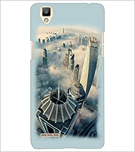 PrintDhaba Bulding View D-2110 Back Case Cover for OPPO F1 (Multi-Coloured)