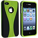 eForCity Snap-on Case compatible with Apple® iPhone® 4 AT&T / Verizon, Green / Black Cup Shape