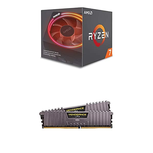 AMD Ryzen 7 2700X Processor Wraith Prism LED Cooler - YD270XBGAFBOX and Corsair VENGEANCE LPX 16GB (2 x 8GB) DDR4 3000 (PC4-24000) C15 1.35V Desktop Memory Kit - Grey (Tamaño: 16 Gb)