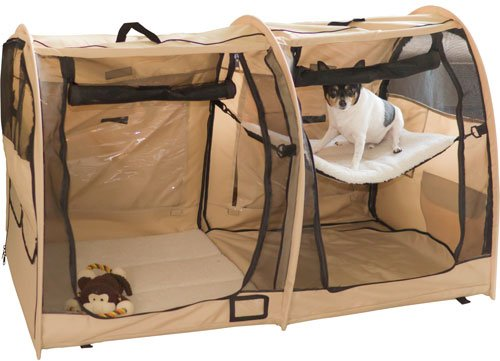 Portable Dual Compartment Soft-Side Small Pet Kennel Crate front-779303