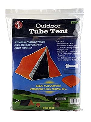 SE ET3683 Emergency Outdoor Tube Tent with Steel Tent Pegs from Sona Enterprises