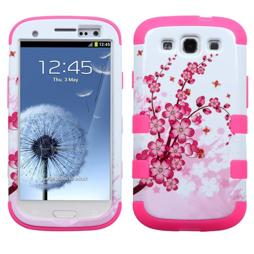 Phonetatoos For Galaxy S Iii (I747/L710/T999/I535/R530/I9300)Spring Flowers/Electric Pink Tuff Hybrid Phone Protector Cover