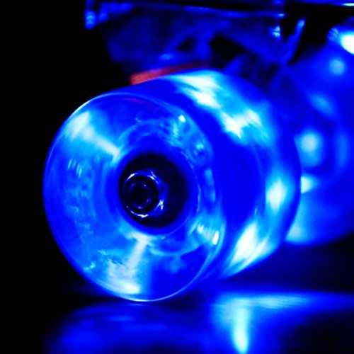 Wonnv LED Light-up Skateboard Wheels with ABEC-7 Bearings - Smoother Quieter Ride - 60x45mm - Blue Wheels (Led Light Up Longboard Wheels compare prices)