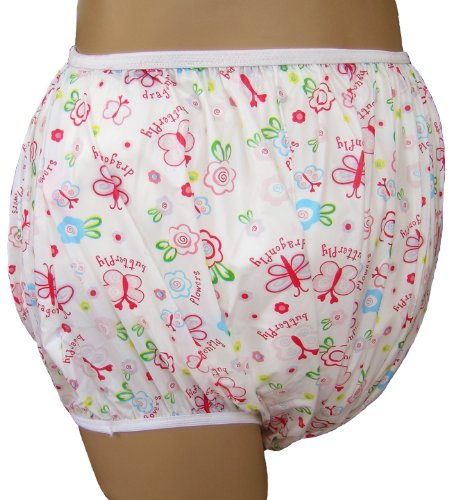 Baby Pants Classic Butterflies Nursery Print Adult Pullon Plastic Pants - Medium