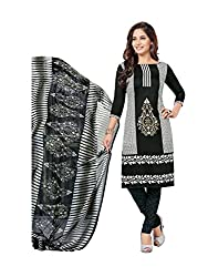 PShopee Unstitched Black Synthetic Printed Salwar Suit Dress Material