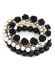 Cinderella Collection By Shining Diva Trendy Fashion Black Color Pearl Rose Flower Multilayer Charm Bracelet &...