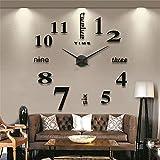 GUFAN® 3D DIY Pendule Murale Moderne Métallique Horloge de Salon Décoration (noir)...
