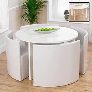 Lexus gloss white round dining table 4 white sophia chairs