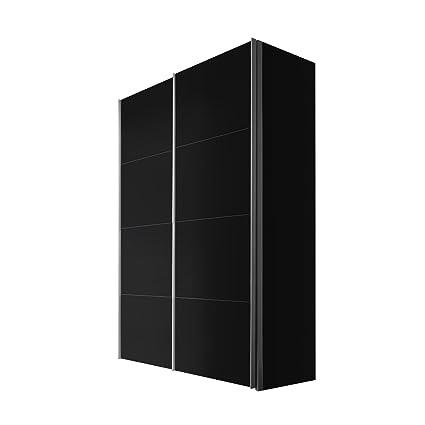 Solutions 47410-708 Schwebeturenschrank 2-turig, Korpus und Front schwarz, Griffleisten alufarben, 68 x 150 x 216 cm