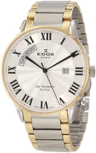 Edox Men's 83011 357J AR Les Vauberts Automatic Gold PVD Roman Numeral Steel Watch