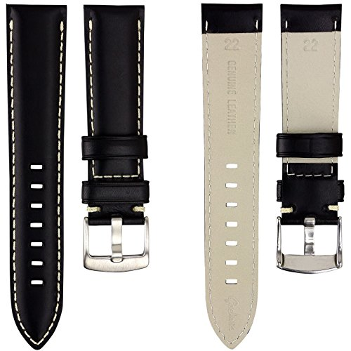 geckotar-genuine-italian-leather-padded-watch-strap-black-with-ivory-stitching-22mm