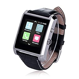 Luxsure Bluetooth 4.0 Smart Watch Waterproof Wrist Watch Phone with Camera Touch Screen and PU Leather Strap Band Smartwatch for IOS iPhone 6 6 plus Samsung Android Smartphones(Silver)