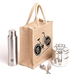 Printed jute bag,specially design to carry lunch (Lunch bag,Medium Size, Height:11in, Lenght: 9in, Width: 5.5in)